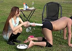 Risa trains her slaves in public and foot worship domination