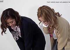 Japanese schoolgirls spitting on slave man and ballbusting