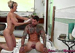 Buxom masseuse gets her jugs cum dumped
