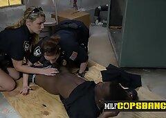 Milf cops take turns to make criminal bang their horny cunts