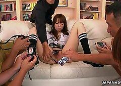 Naughty Japanese babe gets gangbanged