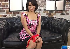 Nasty Asian bimbo with hairy snatch pussy fondled and filled with sex toy - More at javhd.net