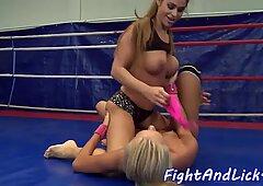 Busty wrestling babe seducing lesbian pussy