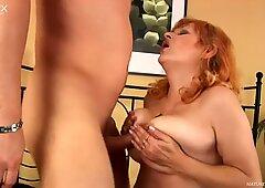 Buxom snow white granny Gunda gets her tits fucked by Steve Q