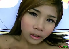Hot Thai girl with perfect tits rides my dick