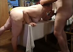 Hardcore BBW MILF Doggy Style Fuck on the Kitchen Table Loud Orgasm.