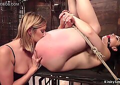 Lesbian slave loves pain in the ass