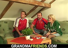 two buddy share very hot blonde skinny granny