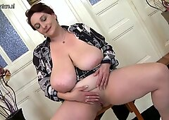 Huge breasted mature mom playing with herself