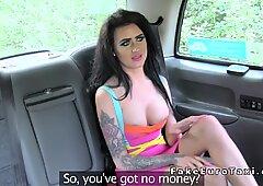 Busty petite Brit anal banged in fake cab