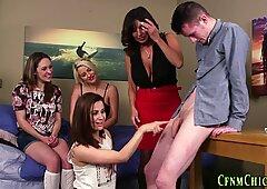 Cfnm brits taught tugging
