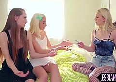Sapphic teens eat pussy in threeway