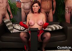 Frisky peach gets sperm load on her face gulping all the cum