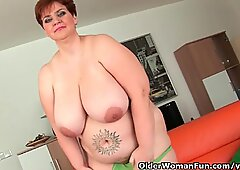 Oversized gilfs with huge tits give their plump pussy a treat