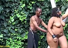 real bbw african outdoor bdsm lesson