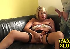 Big ass MILF rubs her wet cunt while swallowing a hard cock