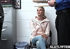 Security officer Mike Mancini makes Emma Hix suck his big meat