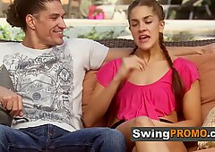 Mature swinger couple starts spinning the bottle to daring
