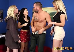Hot babes strip their housemate and jerk him off