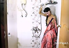 Young Mumbai College Teen In Bathroom Teasing Striptease Playing With Her Natural Juicy Tits