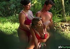 Flab flies in outdoor bbw threesome