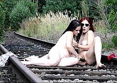 ELETTRA and OXANA lez sex on rails