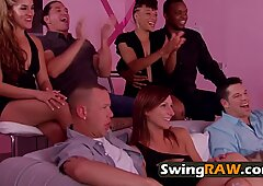 Milf with big tits gets her pussy wet before getting into the red room and fuck with new swingers. - Big Red
