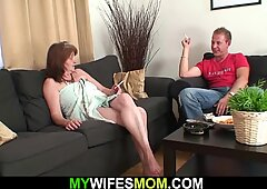 Old busty mother-in-law rides his cheating cock