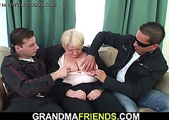 Boozed blonde granny is picked up for double fuck