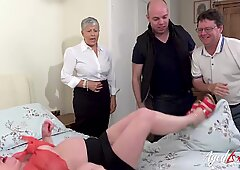 Two horny matures with big tits are enjoying groupsex with friends