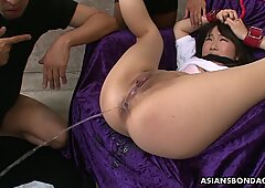 Filling that ass up with a syringe bdsm style