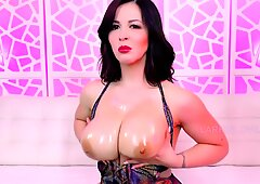 4k Glaze my Tits JOI Cum Oil Larkin Love