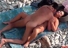 Chubby wife fucked on public beach got exposed