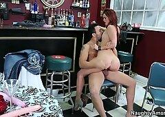 Astonishing redhead MILF Karlie Montana rides brutal macho's cock