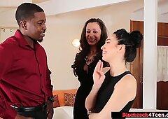 Sexy babe fucks stepmoms black friend
