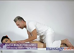 massage rooms rae lil black gives sloppy blowjob on stroking table