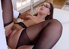 Classy secretary Gabriella cheats with the big black boss cockReport this video