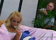 Sexy blond fucks her chubby sugardaddy
