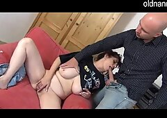 granny and young man are blowjobing together