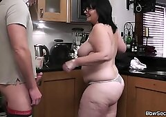 Busty bitch riding cheating husband's cock