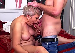 Granny gets sex and cuni from young guy