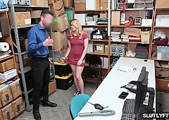 Nerd shoplifter Taylor Blake goes down and suck the LP Officer!