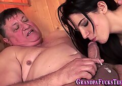 Teen footfucks and rides fat gramps