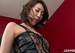 Aya Kisaki on high heels plays with cock