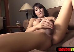Thai ladyboy with perfect body and tits gets fucked