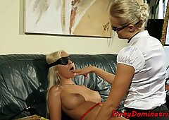 Blindfolded euro dominated by spex milf