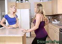 Milf and teen fuck stepbrother