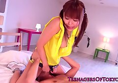 Pretty japanese teen fucking in her panties