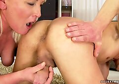 Raunchy granny gets her face blasted with hot cum