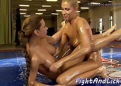 Lesbian eurobabes wrestling while oiledup